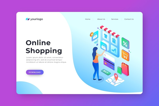 Isometric landing page for online shopping