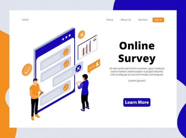 Isometric landing page of online survey