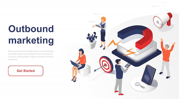 Isometric landing page outbound marketing or advertising