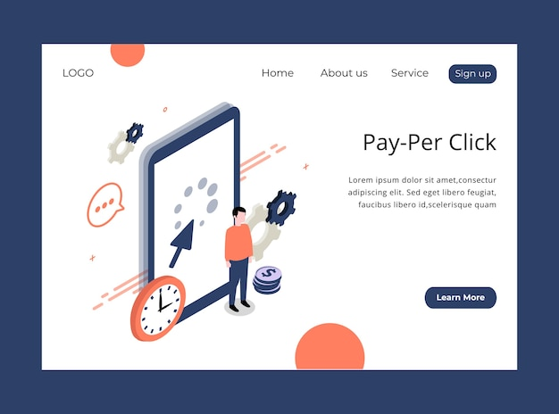 Isometric landing page of pay per click