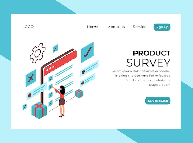 Isometric landing page of product survey