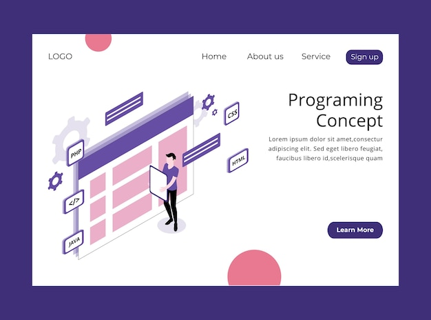 Isometric landing page of programming concept