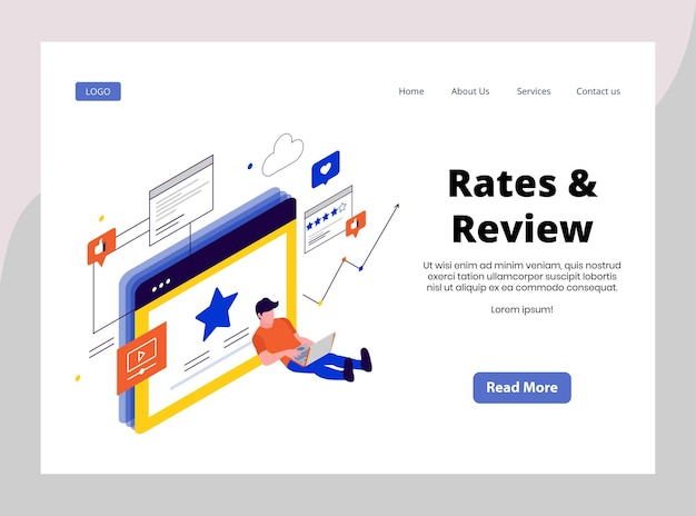 Isometric landing page of rates and reviews