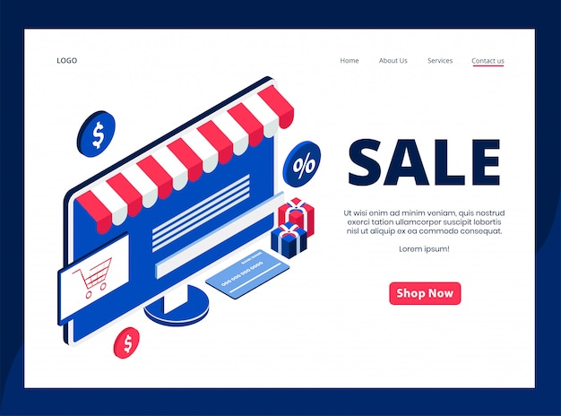 Isometric landing page of sale