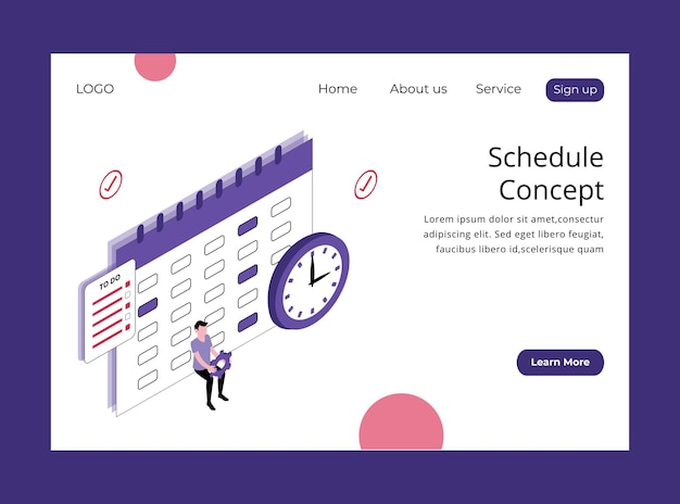 Isometric landing page of schedule concept