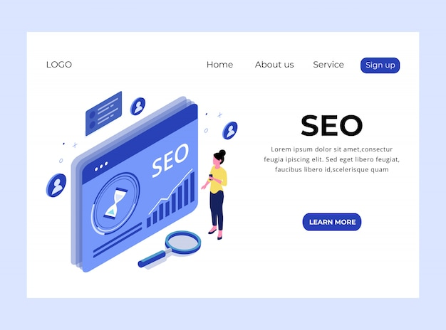 Isometric landing page of search engine optimization