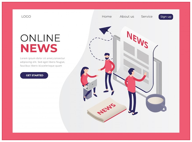 Isometric landing page showing online news