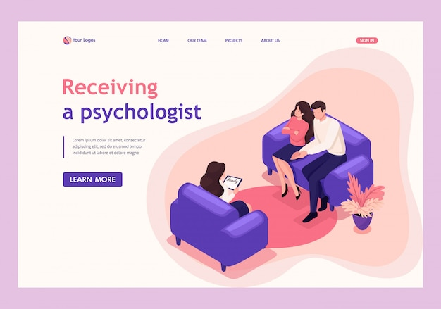 Isometric landing page of spouses at the reception of psychologist, conflict in the family.