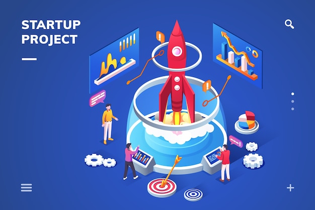 Isometric landing page for startup project