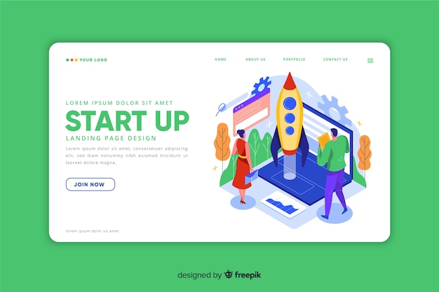 Isometric landing page for startup
