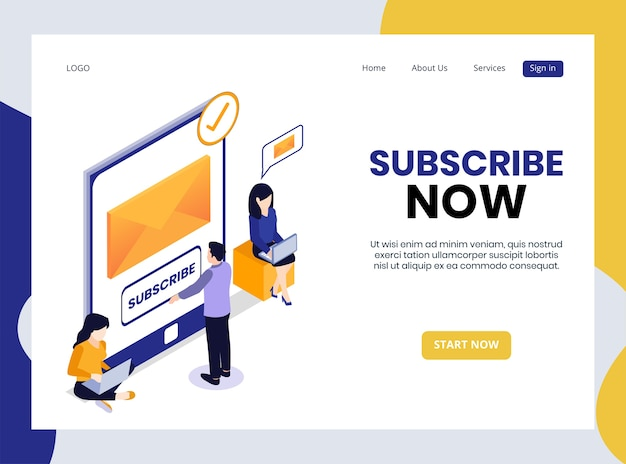 Isometric landing page of subscribe now