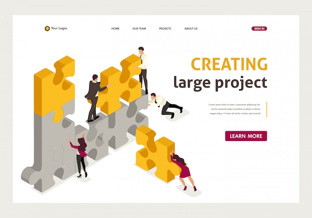 Isometric landing page of team work together to create a project, businessmen.