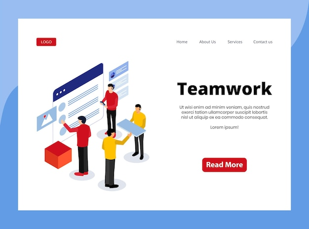 Isometric landing page of teamwork