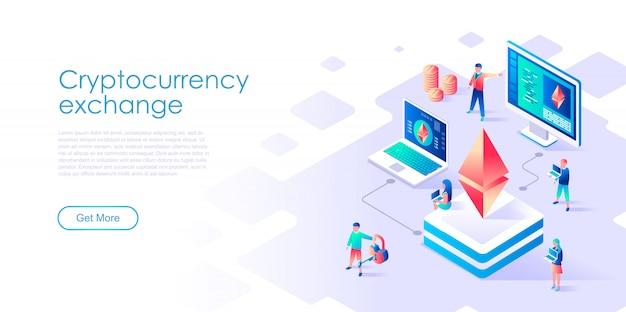 Isometric landing page template blockchain
