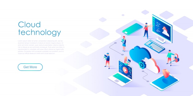 Isometric landing page template cloud computing