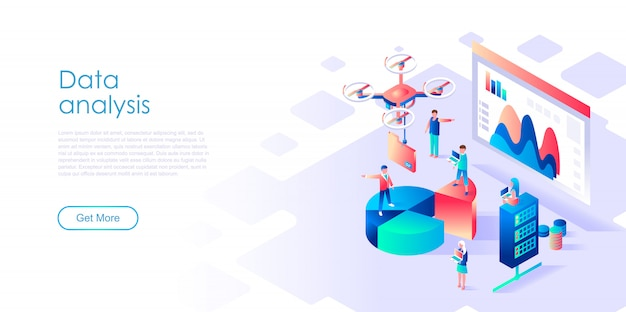 Isometric landing page template data analysis