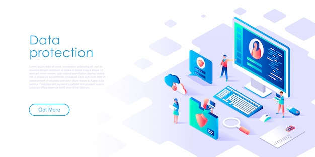 Isometric landing page template data protection