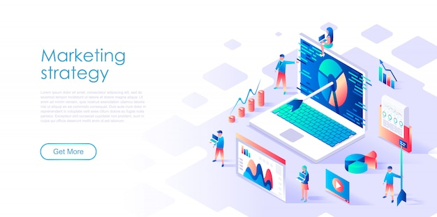 Isometric landing page template digital marketing