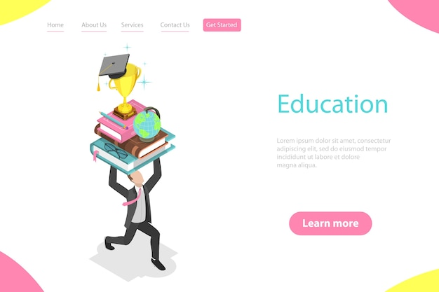 オンライン教育、eラーニング、ウェビナー、トレーニングコース、大学の研究の等尺性ランディングページテンプレート。