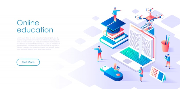 Isometric landing page template online education