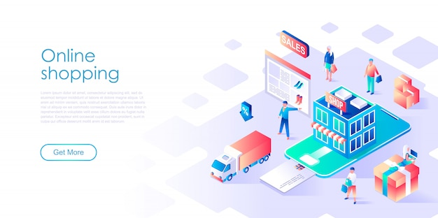 Isometric landing page template online shopping