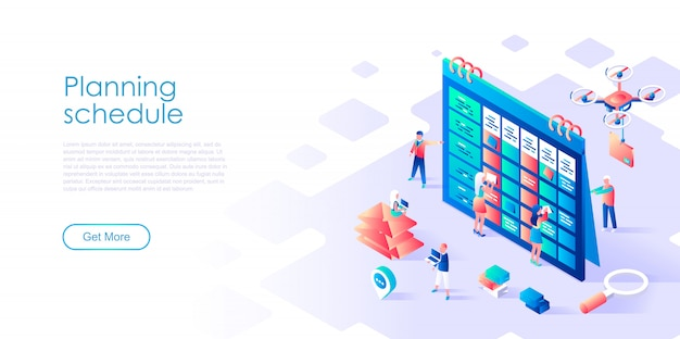 Isometric landing page template planning schedule
