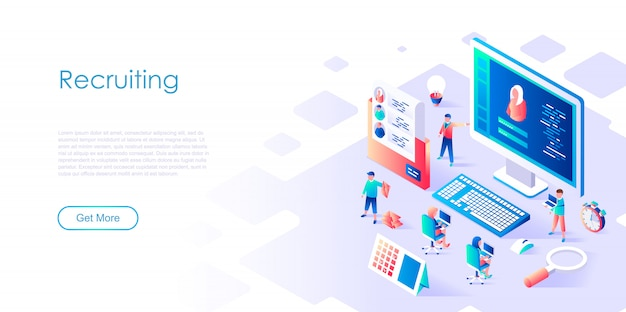 Isometric landing page template recruiting