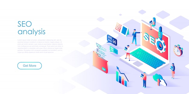 Isometric landing page template seo analysis