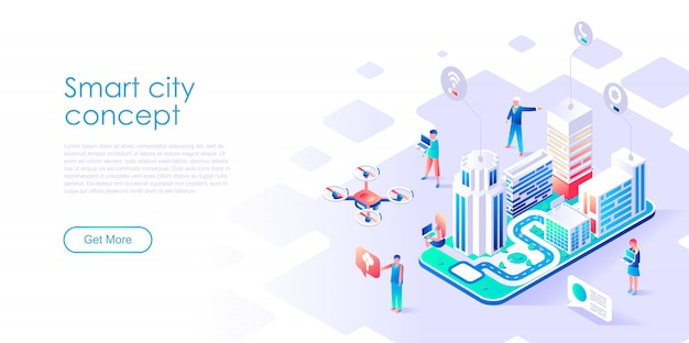 Isometric landing page template smart city