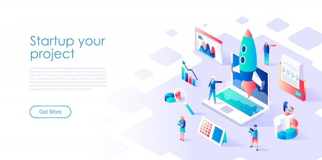 Isometric landing page template startup your project