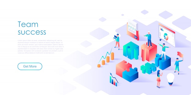 Isometric landing page template team success