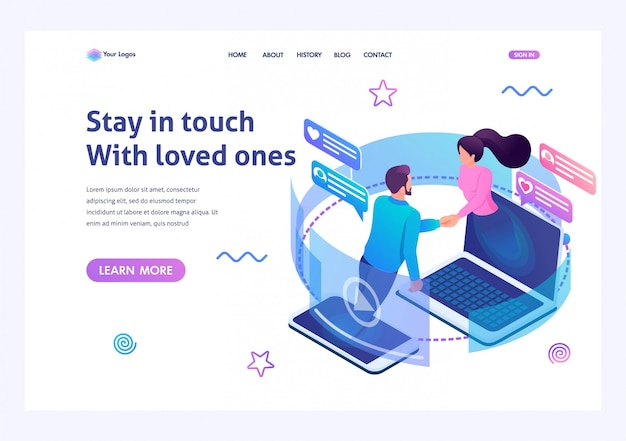 Isometric landing page   on the theme stay always in touch with your loved ones.