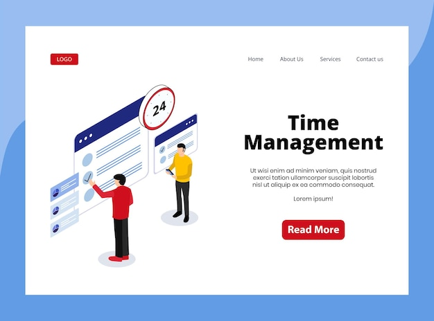 Isometric landing page of time management