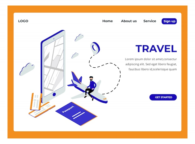 Isometric landing page of traveling