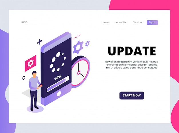 Isometric landing page of update