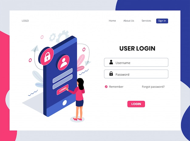 Isometric landing page of user login