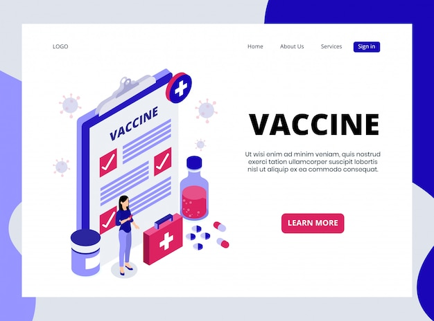 Isometric landing page of  vaccine