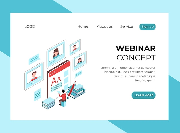 Isometric landing page of webinar concept