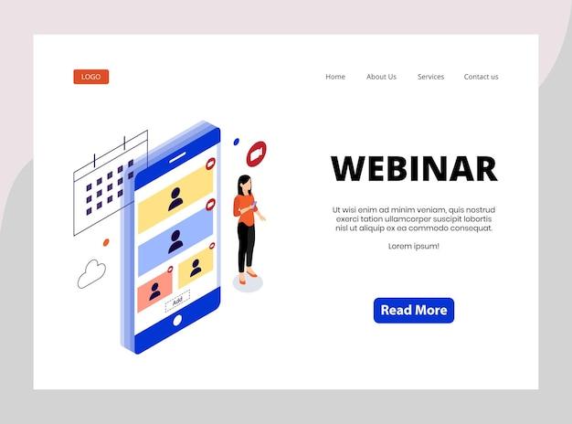 Isometric landing page of webinar