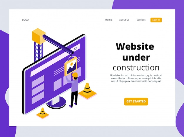 Isometric landing page of website under construction template premium
