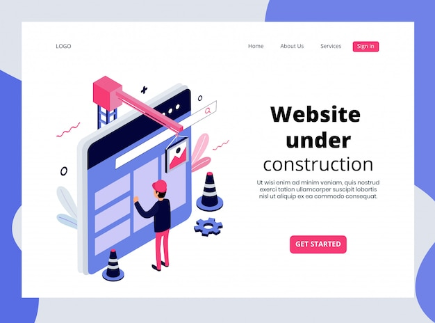 Isometric landing page of website under construction