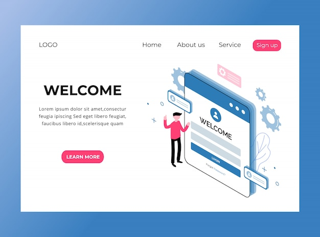 Isometric landing page of welcome page template premium