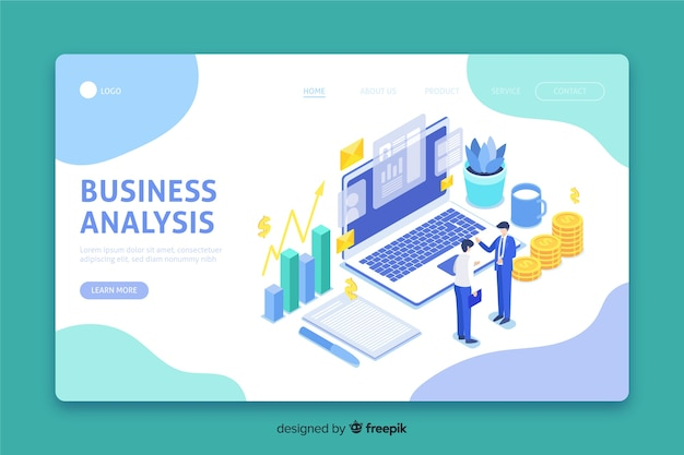 Isometric landing page with business analysis