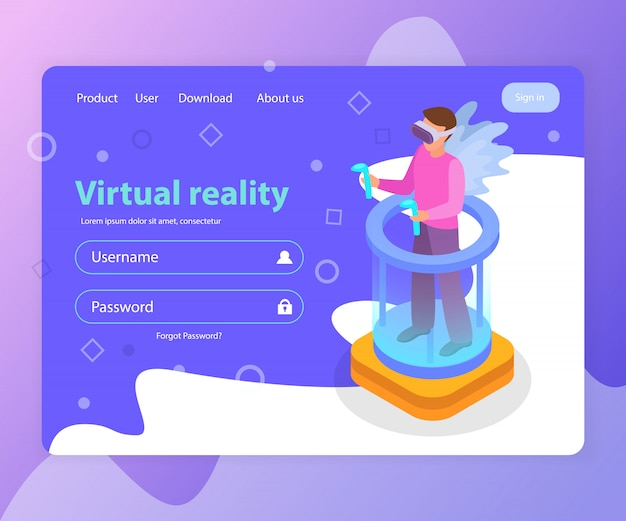 Isometric landing page with login form and man wearing virtual reality glasses 3d  illustration