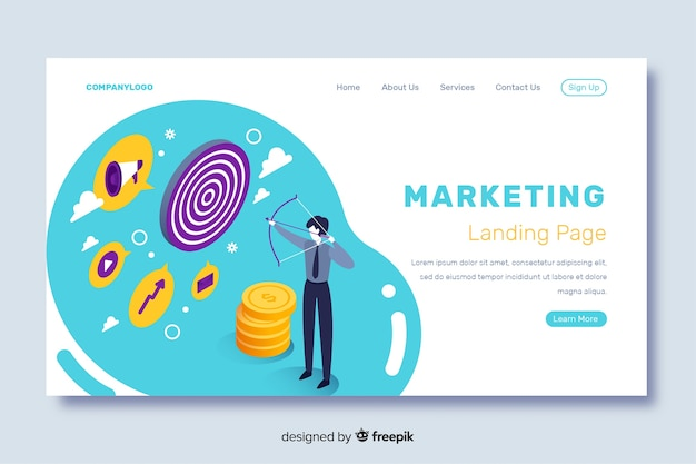 Isometric landing page with strategy for marketing