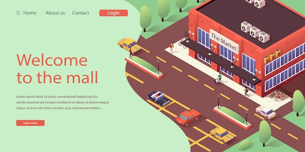 Isometric landing website online shopping mall