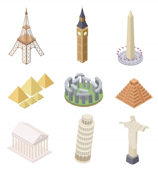 Изометрические ориентир. знаменитые здания путешествия достопримечательности пирамиды падающая башня биг бен эйфелева башня инфографика карта мира множество