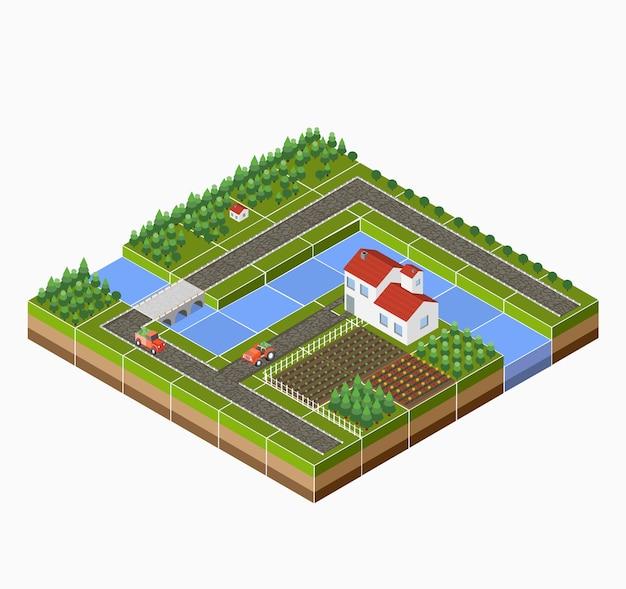 Изометрический ландшафт сельской местности с фермой, трактором, урожаем, кроватями и рекой.