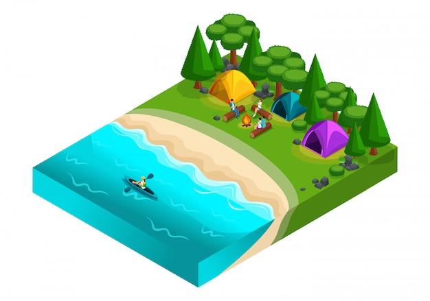 Изометрический пейзаж отдыхает у реки, друзья на отдыхе, свежий воздух, пикник, выходной, камни, пляж, палатка, байдарка, каноэ, друзья у костра