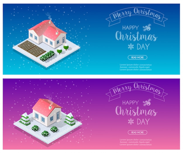 Isometric landscape snow banner